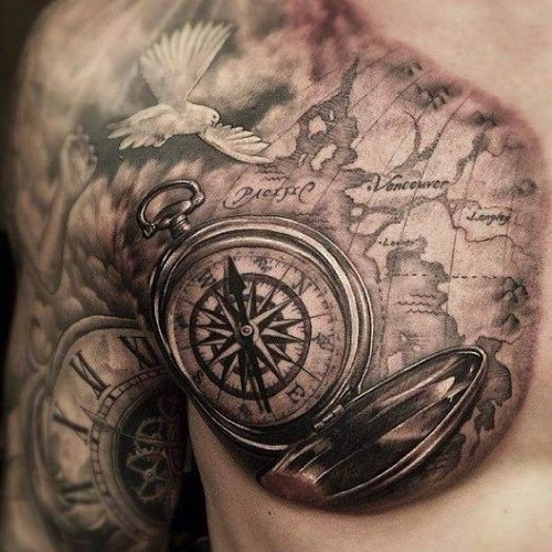 Realistic compass tattoo on chest for men gumiabroncs Choice Image