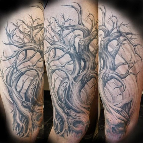 realistic grey oak tree tattoo on leg