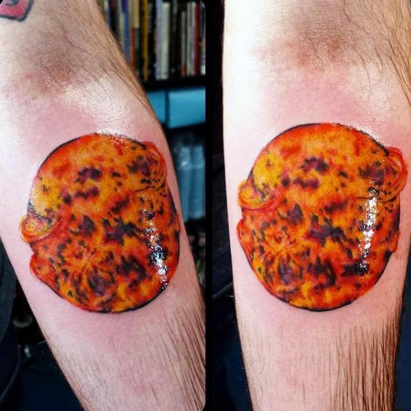 Realistic Sun Tattoo On Forearm