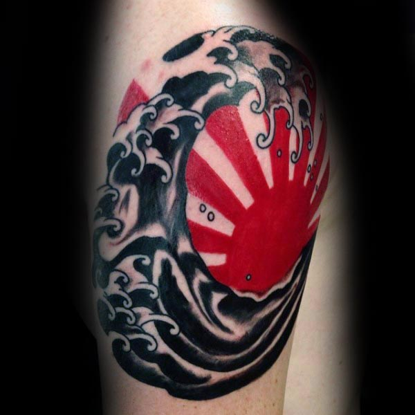 Red Ink Rising Sun With Water Waves Tattoo Design