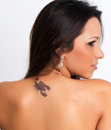 Red Scorpion Tattoo On Girl Upper Back