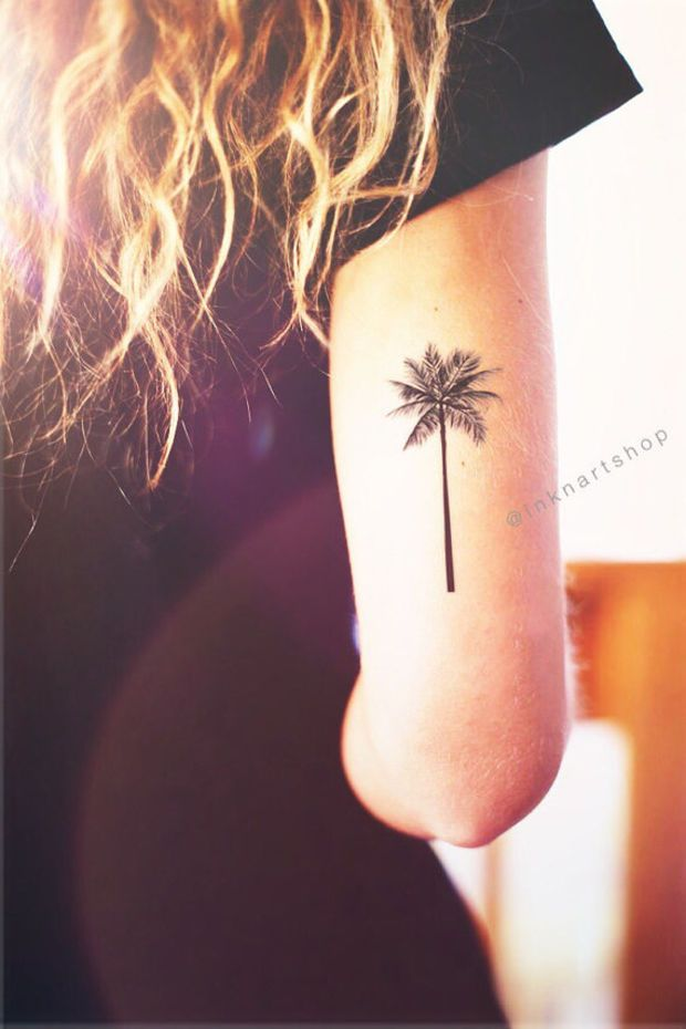 right bicep palm tree tattoo for girls. Black Bedroom Furniture Sets. Home Design Ideas