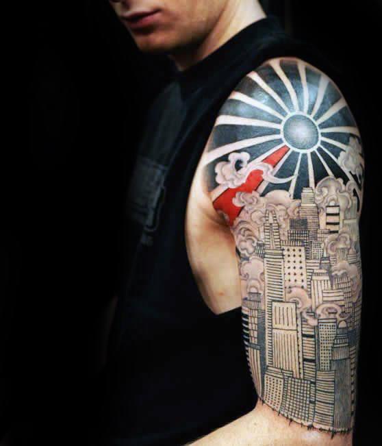 Rising Sun In Skyline City Tattoo On Left Half Sleeve