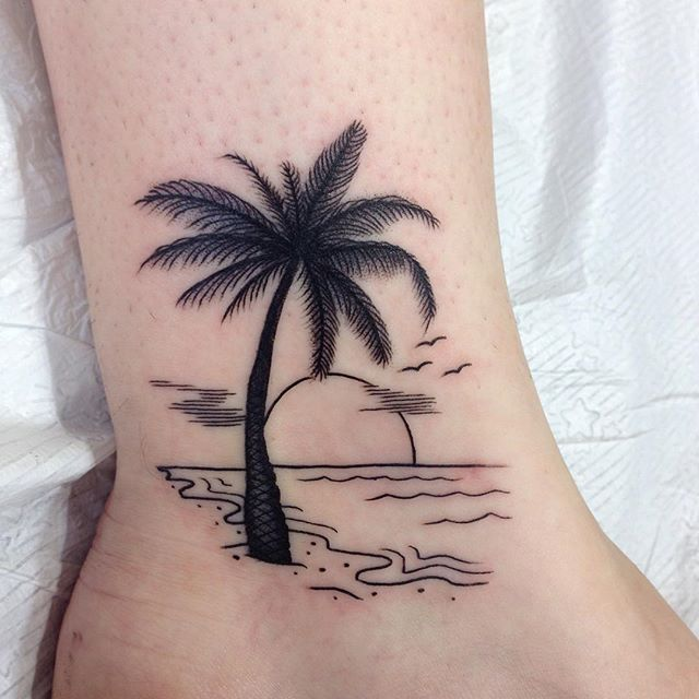 rising sun on beach and palm tree tattoo on ankle. Black Bedroom Furniture Sets. Home Design Ideas