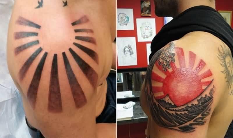 Rising Sun Tattoos Ideas For Men Shoulder