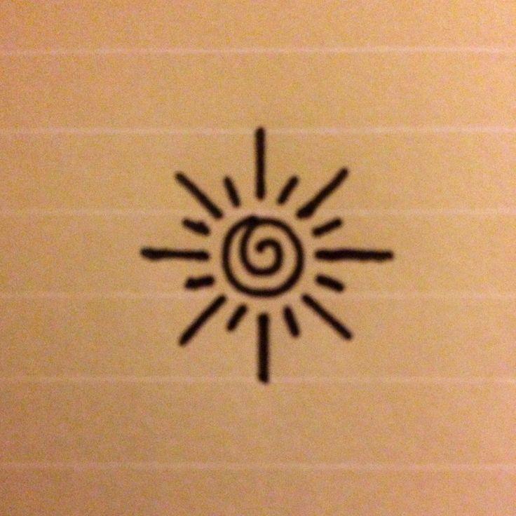 Simple Black Ink Sun Tattoo Design