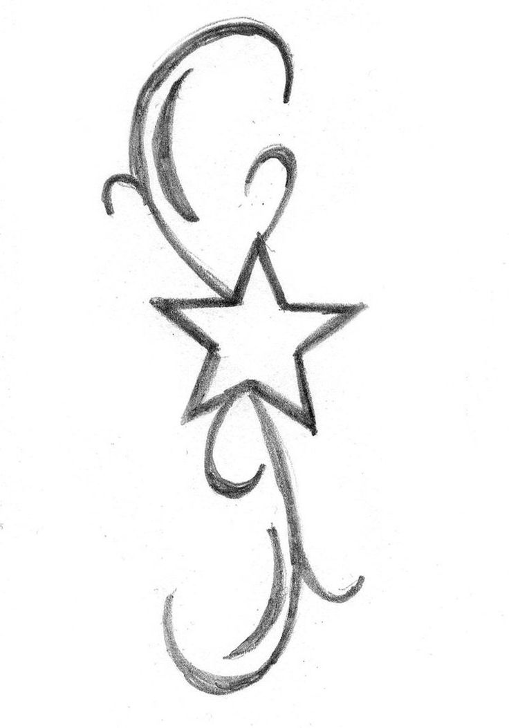 Simple Outline Star Tattoo Design