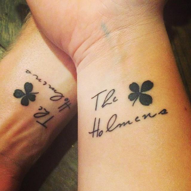 428a5e63cfbed Small Black Ink Four Leaf Shamrock Tattoos On Wrists