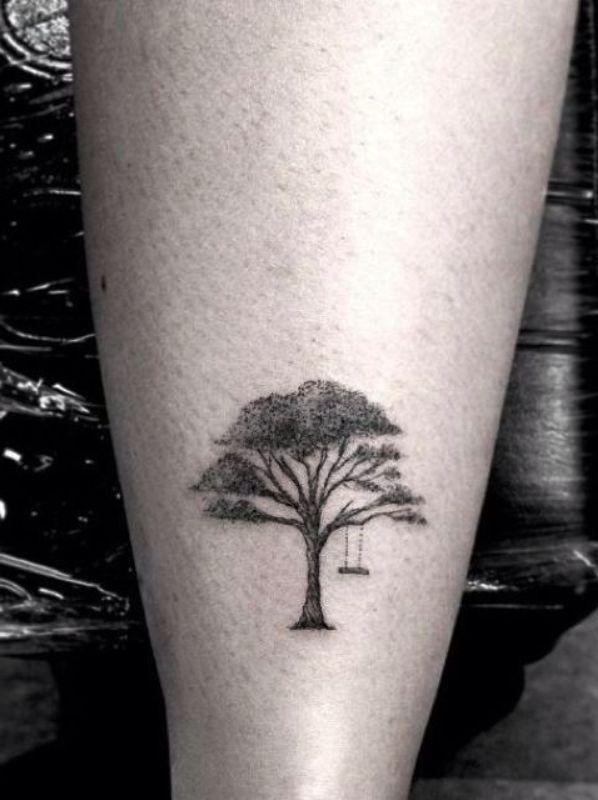 small oak tree tatto on back leg. Black Bedroom Furniture Sets. Home Design Ideas