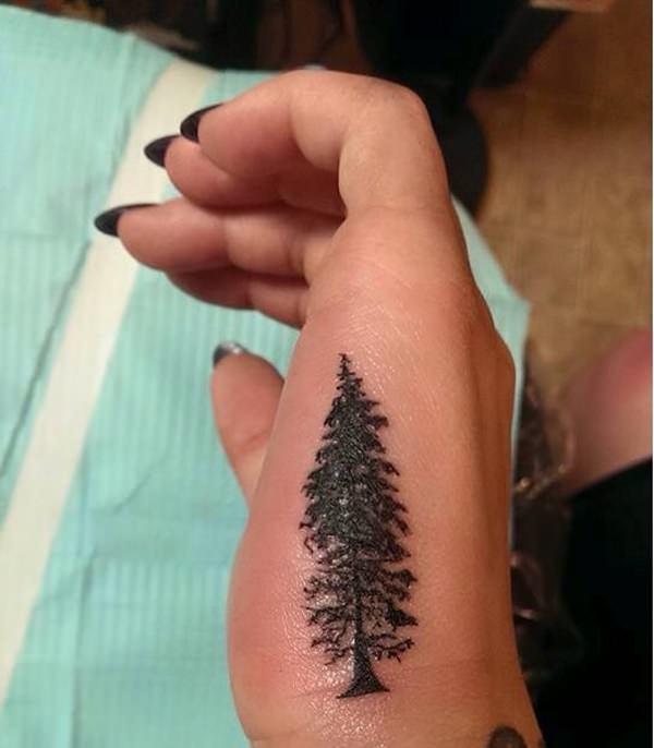 de527f4cd Small Pine Tree Tattoo On Girl Hand