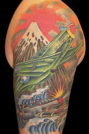 Sun Rising From Mountains Tattoo On Right Shoulder