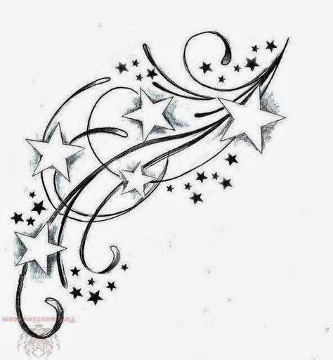 swirl flower and stars tattoo design. Black Bedroom Furniture Sets. Home Design Ideas