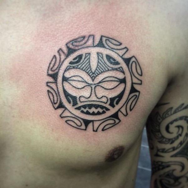 Taino Tribal Sun Tattoo On Man Chest