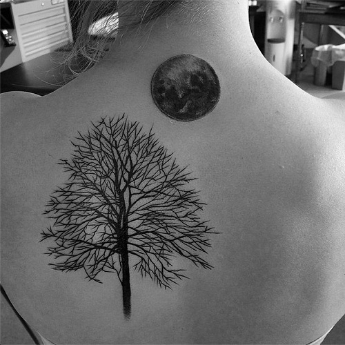 Tree And Full Moon Tattoo On Girl Upper Back