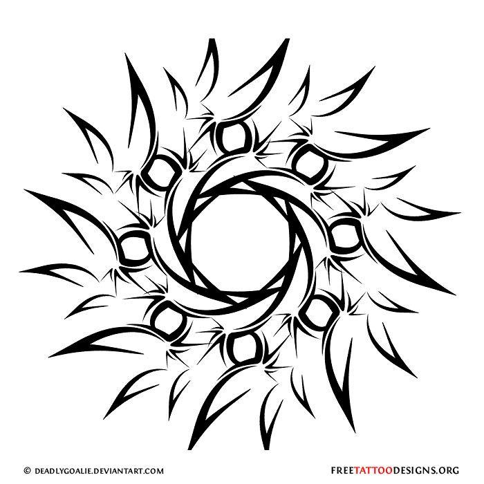 Tribal Black Sun Tattoo Design