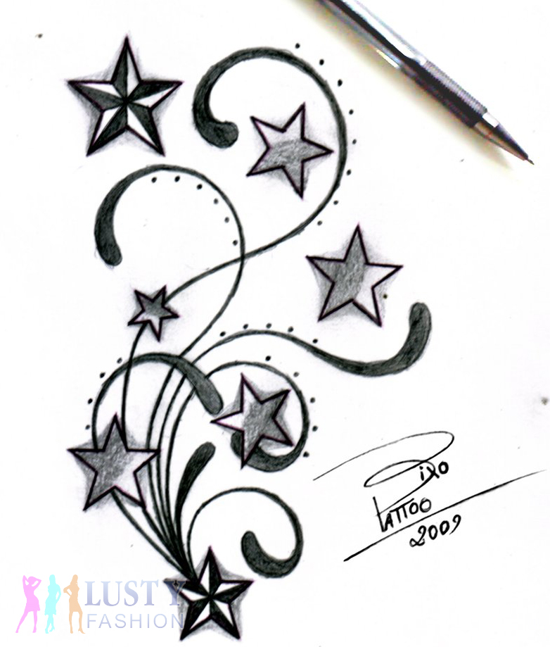 tribal shooting star tattoos design. Black Bedroom Furniture Sets. Home Design Ideas