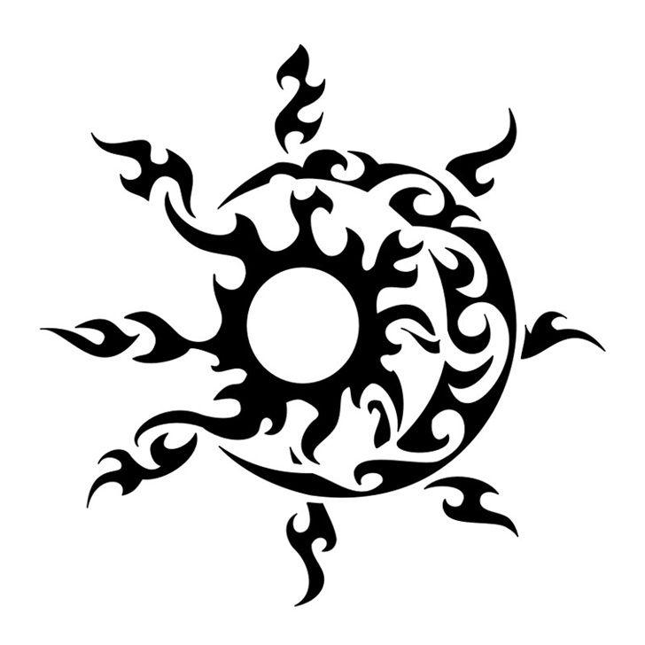 0eb71d865beb3 Tribal Sun And Moon Tattoo Design