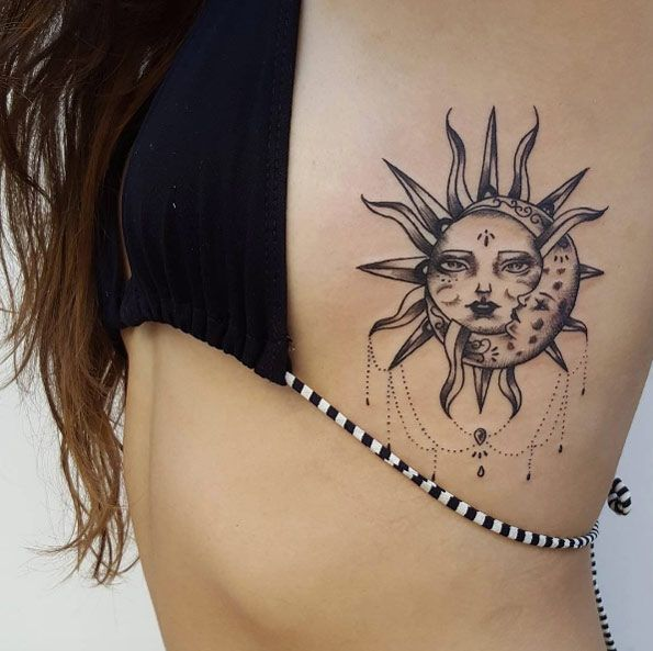 70 moon tattoos ideas with meanings for Small sun and moon tattoos