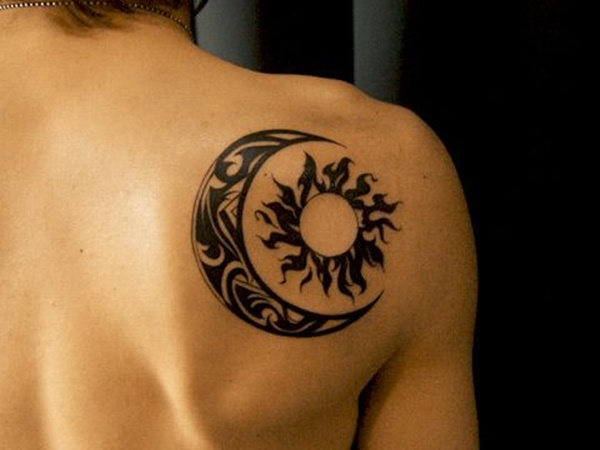 Tribal Sun And Moon Tattoo On Right Back Shoulder