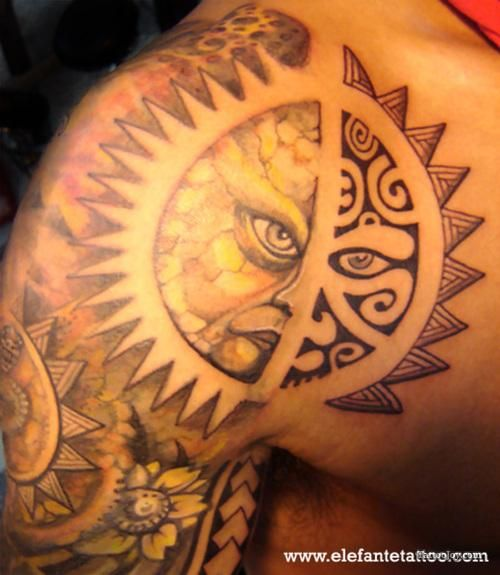 Tribal Sun Tattoo On Left Back Shoulder For Men