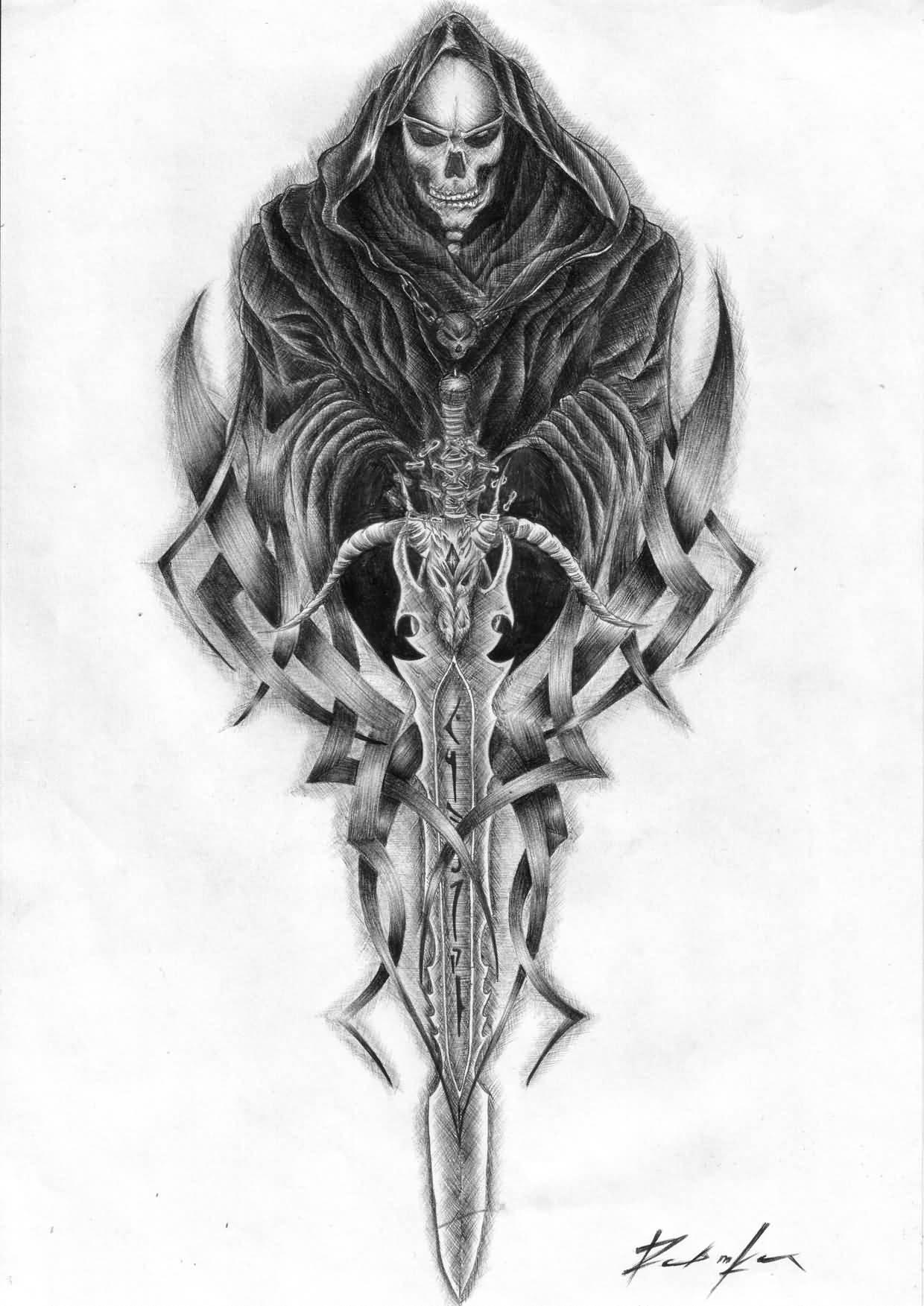 Tribal Death Tattoo: Tribal Sword And Grim Reaper Tattoo Design