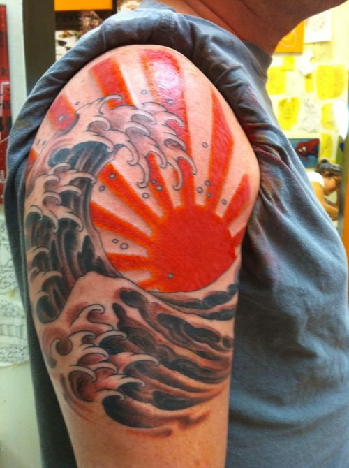 Water Waves And Rising Sun Tattoo On Man Right Shoulder
