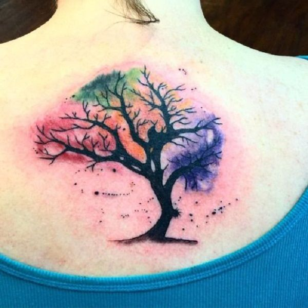 watercolor tree of life tattoo on girl upper back. Black Bedroom Furniture Sets. Home Design Ideas