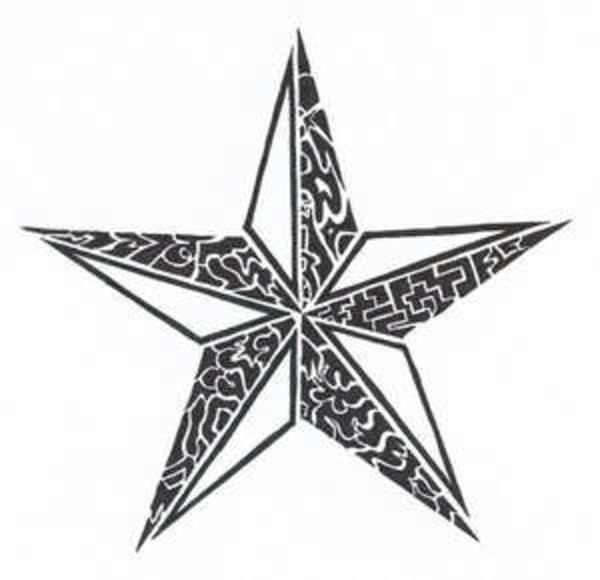 white and black tribal nautical star tattoo design. Black Bedroom Furniture Sets. Home Design Ideas