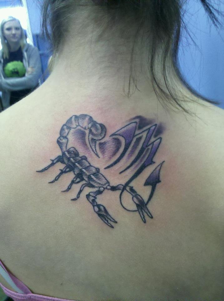 Zodiac Sign And Girly Scorpion Tattoo On Upper Back