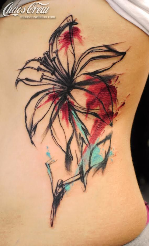 Abstract Lily Tattoo On Girl Side Rib