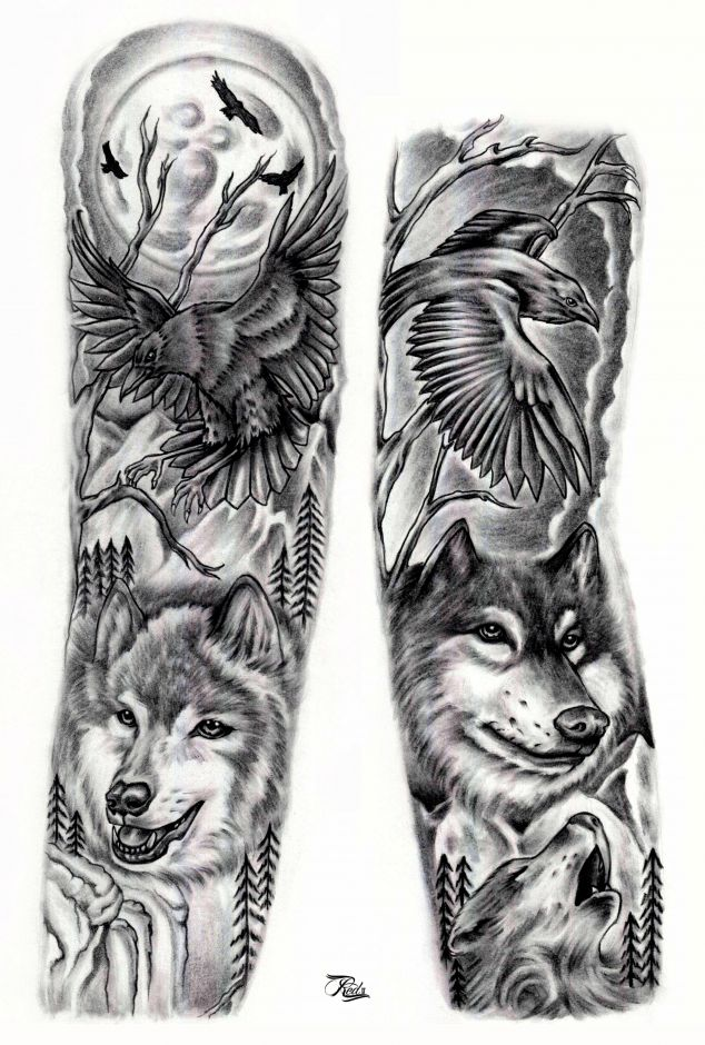 Amazing Flying Raven And Wolf Head Tattoo Design For Arm Sleeve