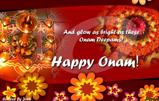 And glow as bright as these onam deepams happy onam greeting card m4hsunfo Images