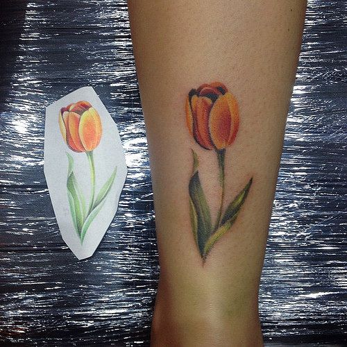 f1fdf1c92f7c5 Awesome Color Ink Tulip Flower Tattoo On Back Leg