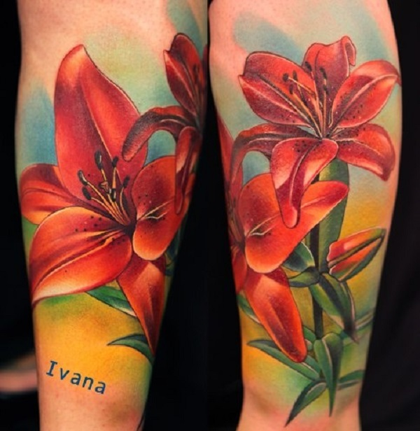 Awesome Colored Lily Flowers Tattoo On Leg