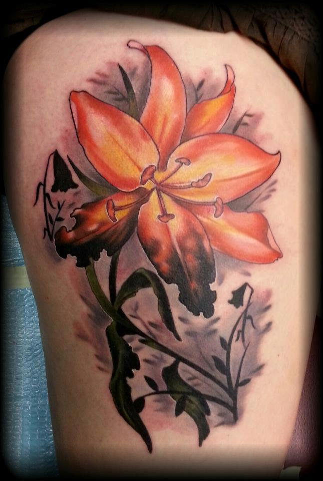 Awesome Yellow and Orange Lily Flower Tattoo On Right Thigh