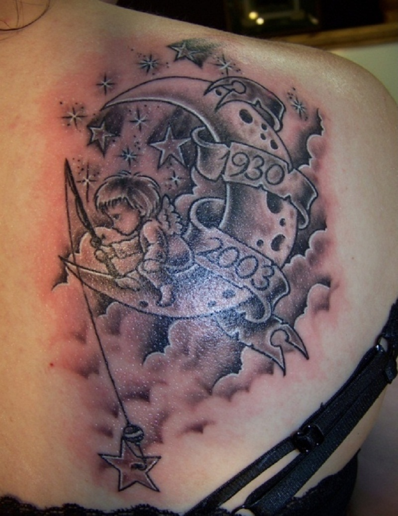36 clouds and stars tattoos with meanings for Moon and stars tattoo