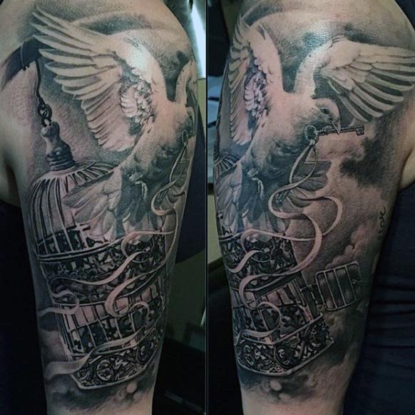 Dove Tattoos Half Sleeve 65+ Peace Dove Tattoo ...