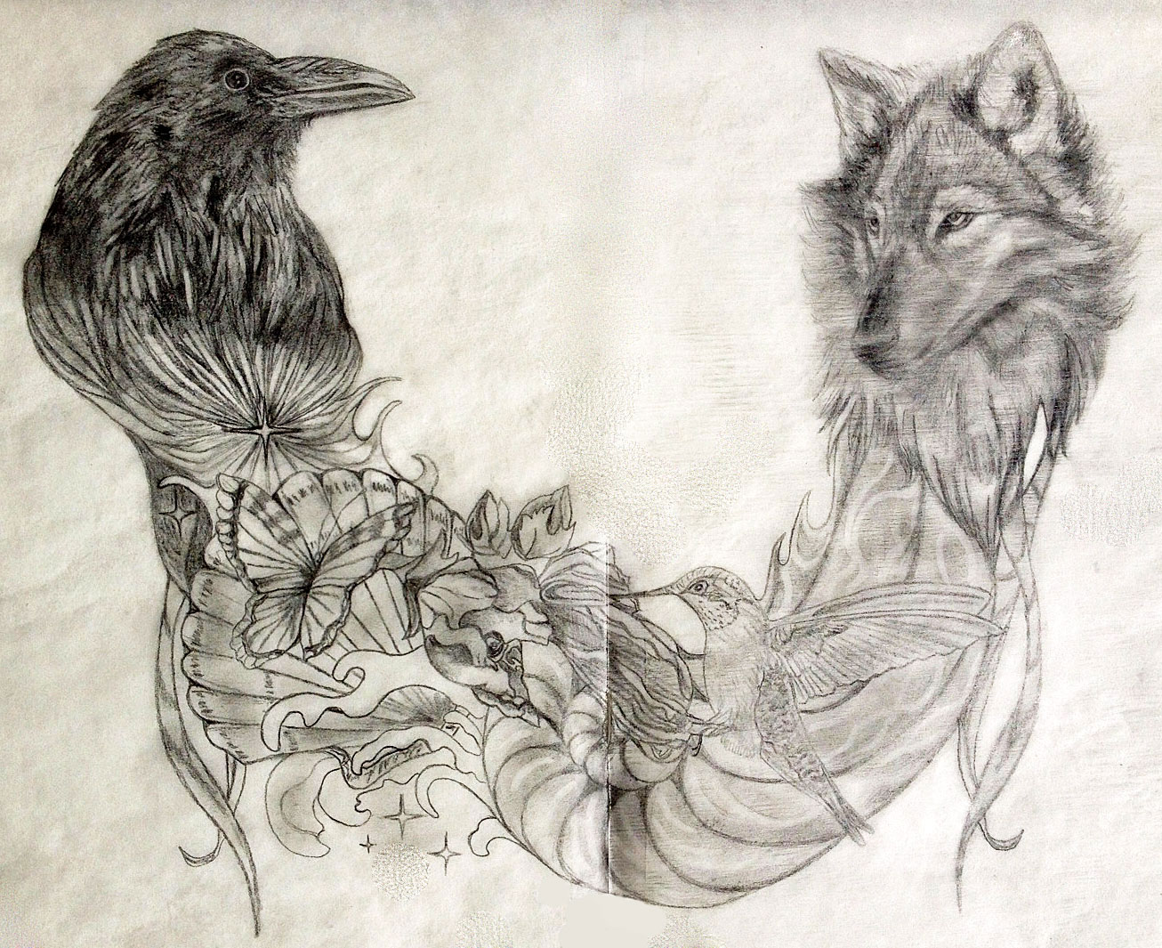 50 wolf and raven tattoos with meaning beautiful raven and wolf tattoo design buycottarizona Gallery