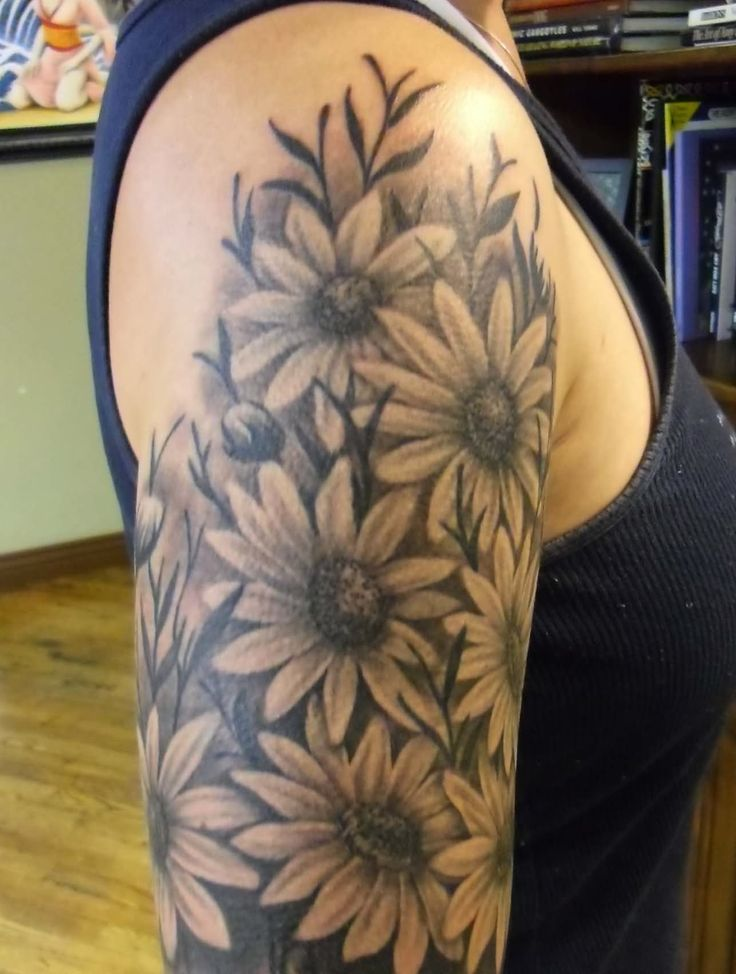 5869fc39a Black And Grey Ink Daisy Flowers Tattoos On Right Half Sleeve