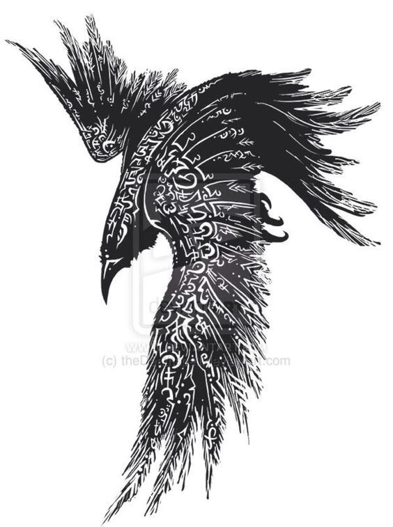 black and white raven tattoo design by deviantart. Black Bedroom Furniture Sets. Home Design Ideas