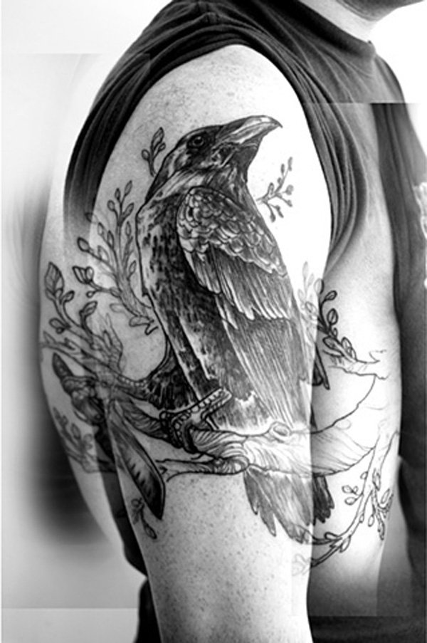 6404194de Black Ink Raven Tattoo On Man Right Half Sleeve