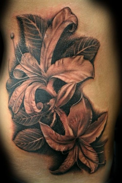 Black Leaves And Lily Flower Tattoo On Side