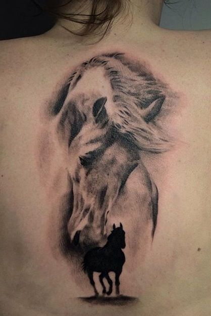 74 latest horse tattoos ideas with meaning for Female silhouette tattoo