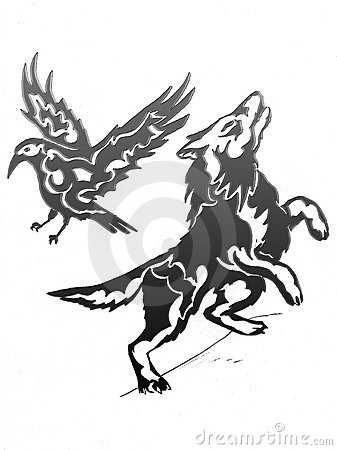 Black Tribal Flying Raven And Wolf Tattoo Design