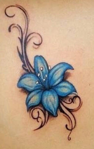 Blue Lily Flower Tattoo Design