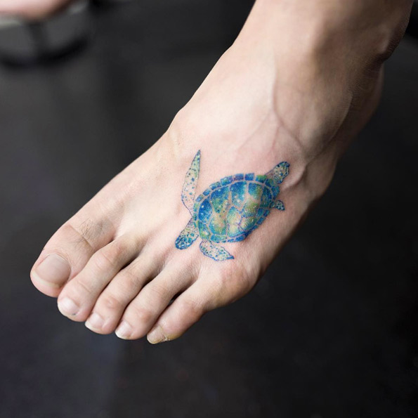 c3ba2d468bd7e Blue Sea Turtle Tattoo On Left Foot