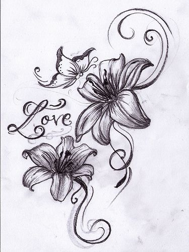 Butterfly And Love Word With Lily Flowers Tattoo Design