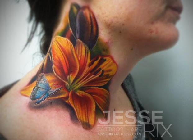 6510daf76 Butterfly And Realistic Lily Flower Tattoo On Side Neck