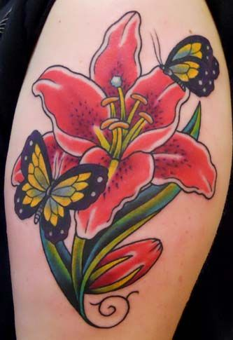 Butterfly and Red Lily Flower Tattoo On Shoulder