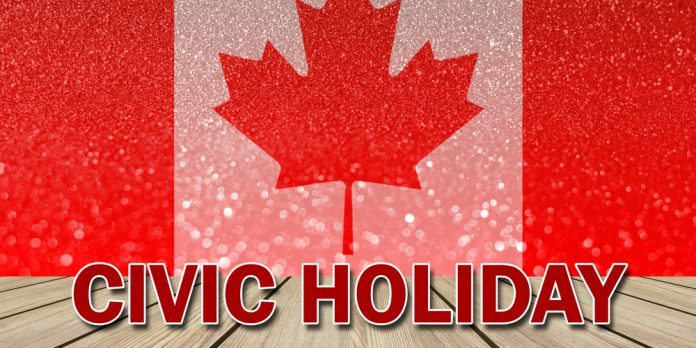 Civic Holiday Canada Flag In Background